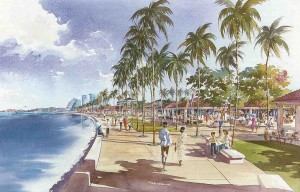 Rendering of view along Tering Bay in the Batam Centre master plan