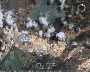 Batam Centre in 2011, as viewed with Google Earth.