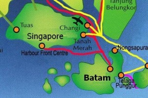Batam, on the Malacca Strait (Singapore Strait)